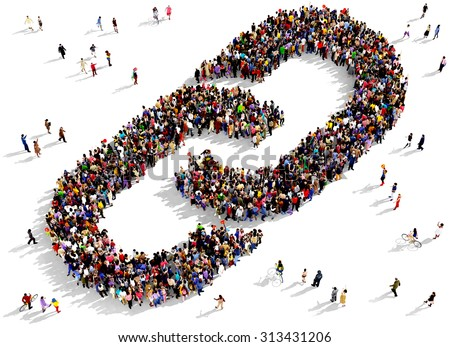 Large group of people seen from above gathered together in the shape of a link symbol - stock photo