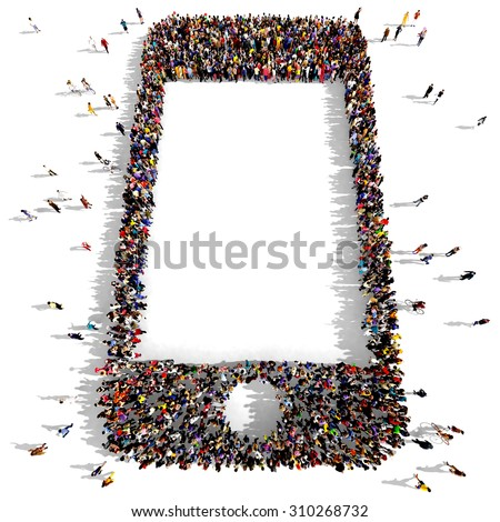 Large group of people seen from above gathered together in the shape of a smartphone - stock photo