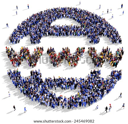 Large group of people seen from above gathered together in the shape of a web icon - stock photo