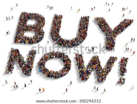 """Large group of people seen from above gathered together in the shape of """"BUY NOW"""" text - stock photo"""