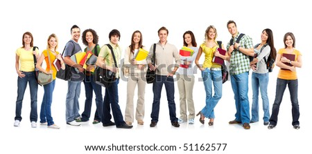 Large group of smiling  students. Isolated over white background - stock photo