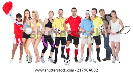 Large group of sports people. Isolated on white - stock photo
