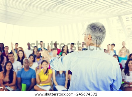 Large group of students in Convention Center - stock photo