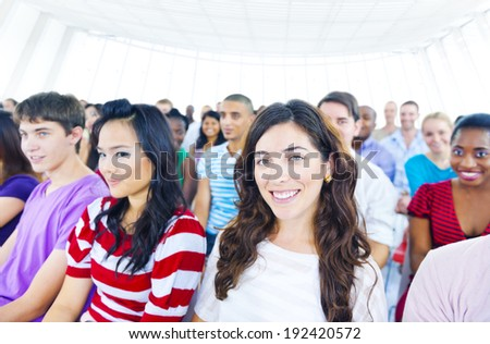 Large Group of Students in Lecture - stock photo