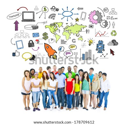 Large Group of Students with Social Networking Infographic - stock photo