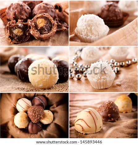 Large group of the sweet homemade pralines  - stock photo