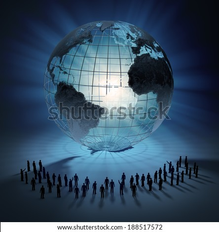 Large group of tiny people standing around a world globe - stock photo