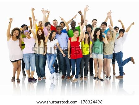 Large Group of World People Celebrating - stock photo