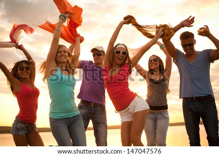 Beach With People Partying Beach Party Stock Photo