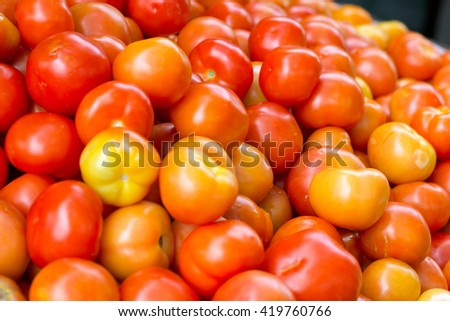 Large Group Tomato In The Market