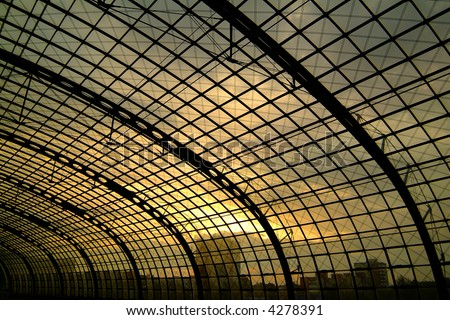 large hall structure of a train station - stock photo