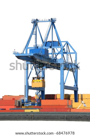 Large harbor crane and containers in Rotterdam harbor - stock photo