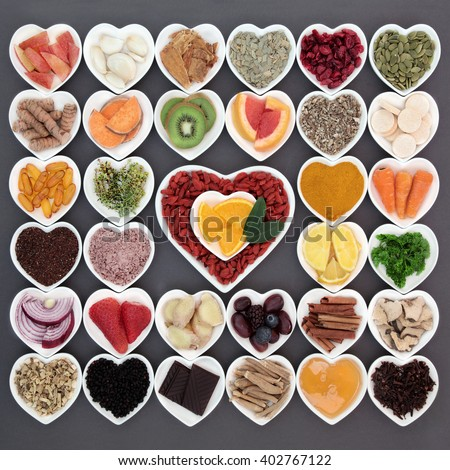 Large healthy food selection for cold cure and flu remedy with foods high in antioxidants and vitamin c with supplement capsules and medicinal herbs. - stock photo