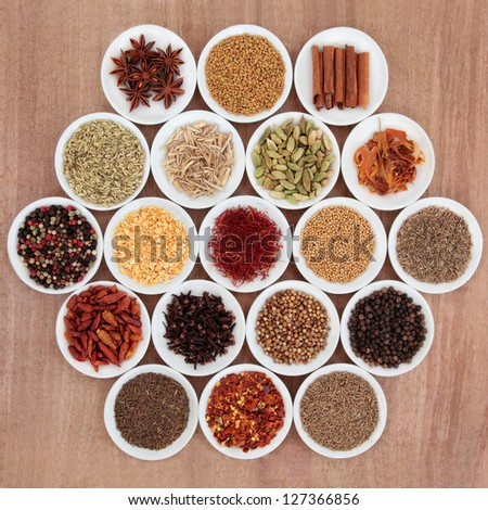 Large herb and spice selection in white porcelain bowls over papyrus background. - stock photo