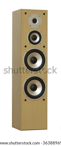 Large Hi End speakers isolated on white - stock photo