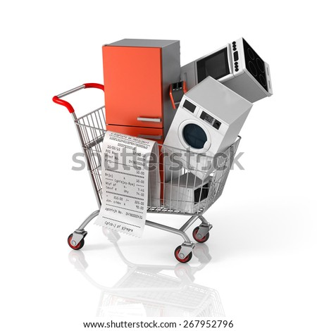 Large home appliances with a check in the shopping cart. Sales concept. - stock photo