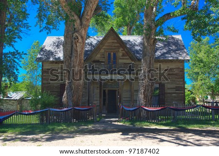 Large house in Virginia City ghost town - stock photo