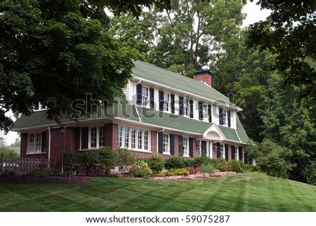 Large House on Hill - stock photo
