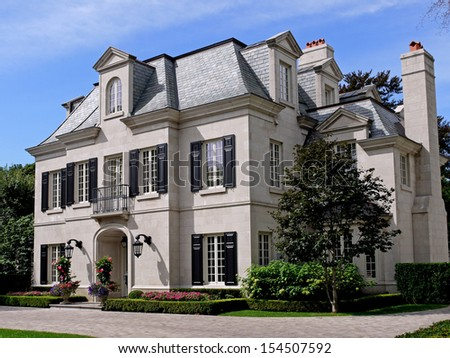 Large house with shutters - stock photo