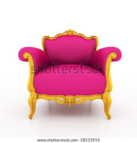 Large image Resolution of Classic glossy pink armchair with golden details, isolated on a white background - stock photo