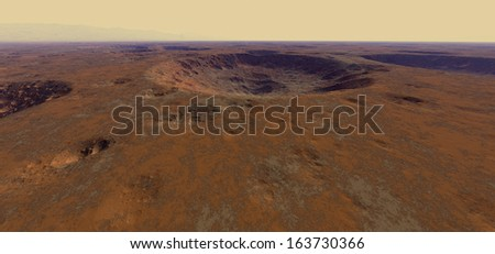 Large impact craters on Mars - stock photo