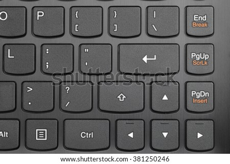 large in the input button on the keyboard closeup - stock photo