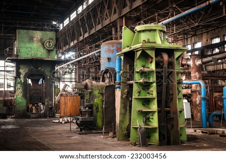 Large industrial hall with low light angle shot - stock photo