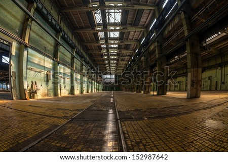 Large industrial interior in a cool style