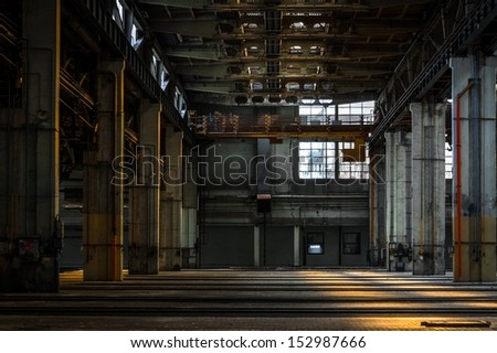 Large industrial interior in a cool style - stock photo