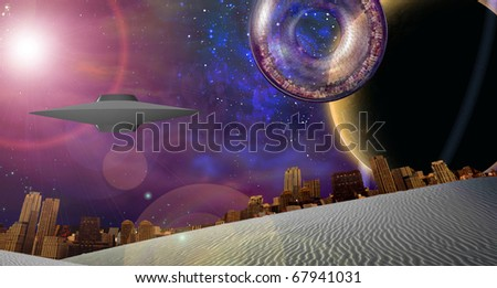 Large interstellar city ship near ringed planet - stock photo