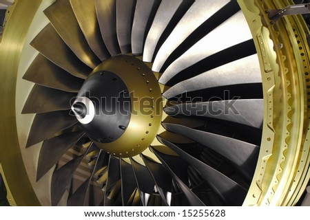 large jet engine turbine blades - stock photo