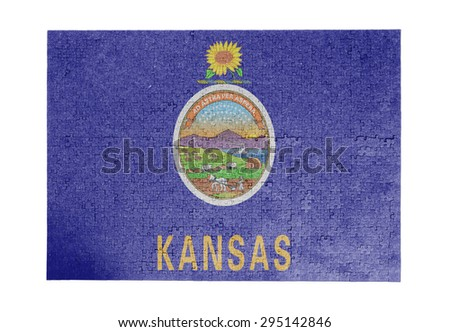 Large jigsaw puzzle of 1000 pieces - flag - Kansas - stock photo