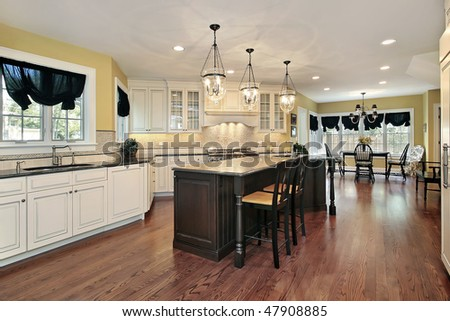 Large kitchen with island and eating area