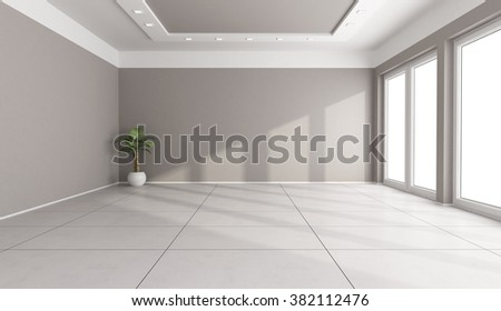 Large living room with windows without furniture - 3D Rendering - stock photo