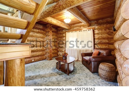 Bright Living Room Interior American Log Stock Photo