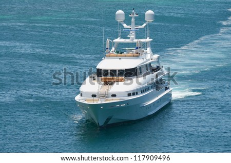 Large luxury yacht at sea - stock photo