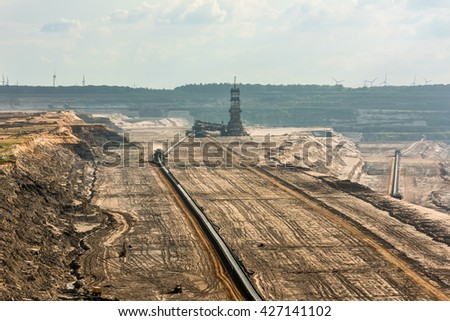 Large machinery digging for brown-coal in of the world's deepest open-pit mines in Hambach in the Ruhr area in Germany. - stock photo