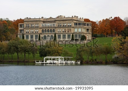 Large mansion on Geneva Lake in Wisconsin - stock photo