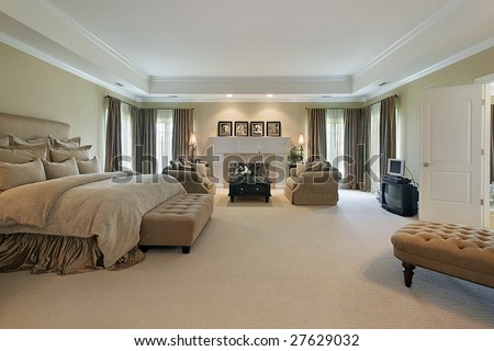 Large master bedroom - stock photo