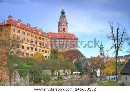 Large medieval castle inside the historical town of Cesky Krumlov, Czech Republic - stock photo