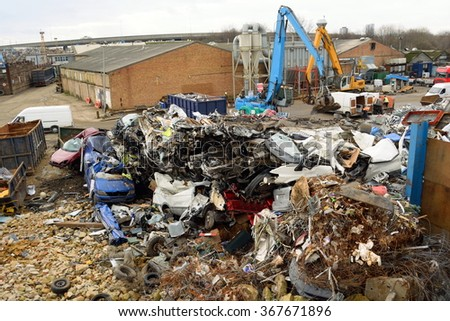 Large metal recycling site in London, England