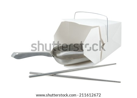Large metal scoop in a wax paper box that is folded up to hold take out food items - stock photo