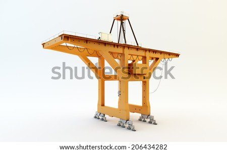 Large mobile container Cargo harbor crane isolated on white