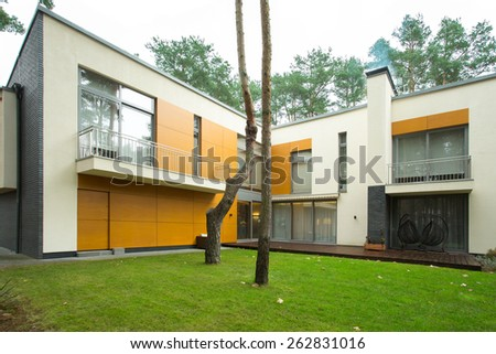 Large modern house from the outside - stock photo