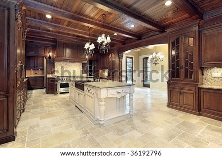 Large modern kitchen with wood ceilings