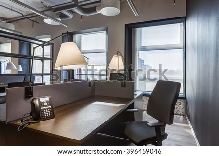 Large modern office, workstation in the office before work