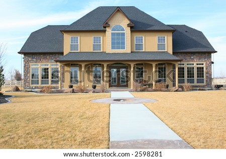 Large modern three story house - stock photo