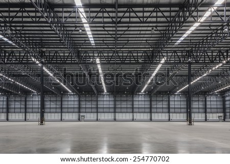 Large modern warehouse - stock photo