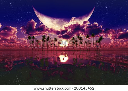 large moon over purple sunset. Elements of this image furnished by NASA  - stock photo