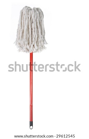 Large Mop Upside Down Isolated on White Background - stock photo
